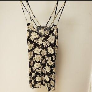 Brandy Melville Floral Black Sun Dress One Size